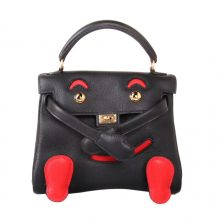 Hermès(爱马仕)kelly doll 娃娃包 黑拼红 swift皮 银扣 18cm
