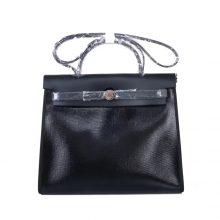 Hermès(爱马仕)Herbag 全黑防水帆布 银扣 31cm