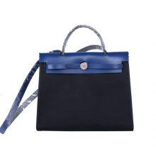 Hermès(爱马仕)Herbag 深蓝色盖头黑色帆布 银扣 31cm