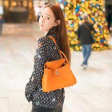 Hermès(爱马仕)lindy 橙色 swift 编织肩带 银扣 26cm