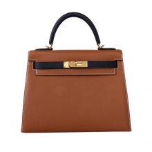 Hermès(爱马仕)Kelly 凯莉包 金棕拼黑 Epsom皮 金扣 28cm