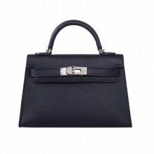 Hermès(爱马仕)mini Kelly 二代 银扣 黑色 epsom