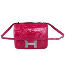 Hermès(爱马仕)Constace 空姐包 桃红 亮面鳄鱼 银扣 19cm