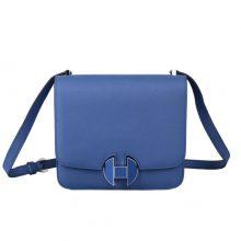 Hermès(爱马仕)hermes 2002 新款 20cm 布莱顿蓝 珐琅扣银 EV