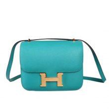 Hermès(爱马仕)Constance 空姐包 孔雀蓝 EP皮 金扣 19cm