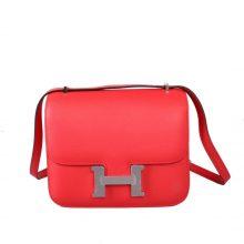 Hermès(爱马仕)Constance 空姐包 西瓜红 EP皮 银扣 19cm