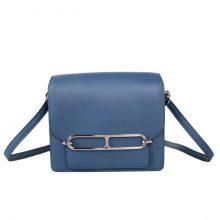 Hermès(爱马仕)roulis 猪鼻包 玛瑙蓝 EV皮 银扣 19cm
