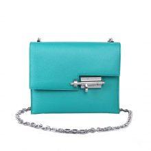 Hermès(爱马仕)Verrou 锁链包 插销包 维罗纳绿 山羊皮 银扣 17cm