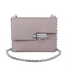 Hermès(爱马仕)Verrou 锁链包 插销包 沥青灰 epsom皮 银扣 17cm