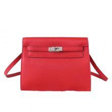 Hermès(爱马仕)Kelly danse 跳舞包 红色 swift皮 银扣 22cm