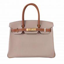 Hermès(爱马仕)Birkin 铂金包 斑鸠灰拼金棕色 Ep 银扣 30cm