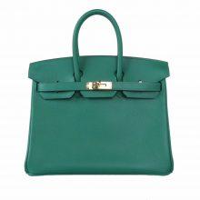 Hermès(爱马仕)Birkin 铂金包 25cm 金扣 丝绒绿 Epsom皮