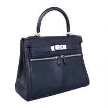 Hermès(爱马仕)Kelly lakis 黑色 swift 银扣 28cm