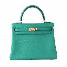 Hermès(爱马仕)Kelly 凯莉包 维罗纳绿 EP皮 金扣 25cm