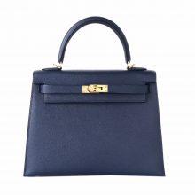Hermès(爱马仕)Kelly 凯莉包 午夜蓝 EP皮 金扣 25cm