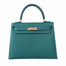Hermès(爱马仕)Kelly 凯莉包 孔雀绿 EP皮 金扣 25cm