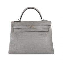 Hermès(爱马仕)Kelly 凯莉包 巴黎灰 雾面鳄鱼 银扣 28cm