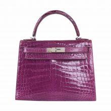 Hermès(爱马仕)Kelly 凯莉包 紫色 亮面鳄鱼 银扣 28cm