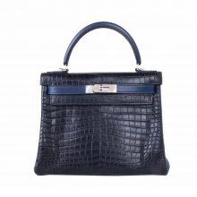 Hermès(爱马仕)Kelly 凯莉包 蓝拼黑 雾面鳄鱼 银扣 28cm