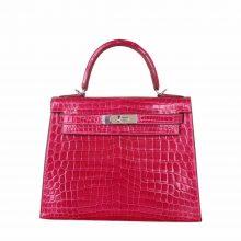Hermès(爱马仕)Kelly 凯莉包 桃红色 亮面鳄鱼 银扣 28cm