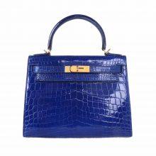 Hermès(爱马仕)Kelly 凯莉包 电光蓝 亮面鳄鱼 金扣 28cm