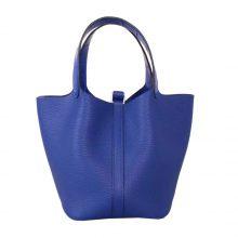 Hermès(爱马仕)Picotin 菜篮包 togo 宝蓝色 银扣 18cm