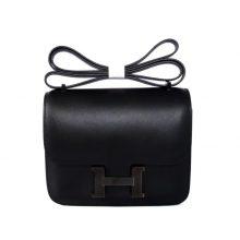 Hermès(爱马仕)Constance 空姐包 黑色 box皮 银扣 23cm