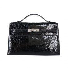 Hermès(爱马仕)miniKelly 一代 22cm 经典黑 银扣 亮面鳄鱼
