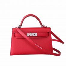 Hermès(爱马仕)mini Kelly 迷你凯莉 国旗红 epsom皮 2代 银扣 20cm