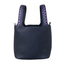 Hermès(爱马仕)Picotin 菜篮包 黑色 togo 编织手柄 银扣 18cm