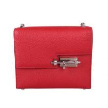 Hermès(爱马仕)Verrou 锁链包 中国红 山羊皮 银扣 17cm