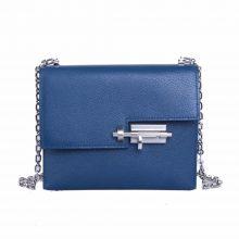 Hermès(爱马仕)Verrou 锁链包 深邃蓝 山羊皮 银扣 17cm