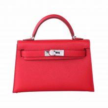 Hermès(爱马仕)mini Kelly 迷你凯莉 国旗红 epsom 银扣 二代