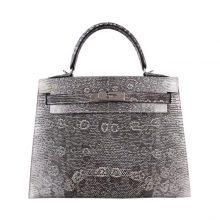 Hermès(爱马仕)Kelly 凯莉包 雪花色 蜥蜴皮 外缝 银扣 28cm