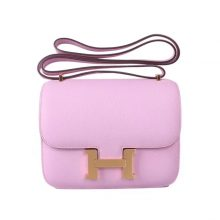 Hermès(爱马仕)Constance 空姐包 锦葵紫 epsom皮 金扣 19cm