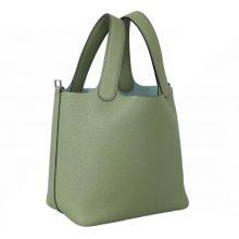 Hermès(爱马仕)Picotin 菜篮包 3I牛油果绿 togo 银扣 18cm