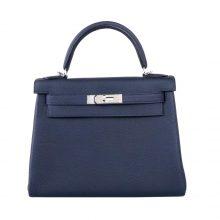 Hermès(爱马仕)Kelly 凯莉包 午夜蓝 Togo 小牛皮 银扣 28cm