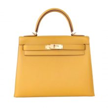 Hermès(爱马仕)Kelly 凯莉包 琥珀黄 EP皮 金扣 28cm