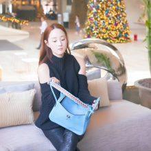 Hermès(爱马仕)lindy 琳迪包 北方蓝 swift 编织肩带 银扣 26cm