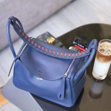 Hermès(爱马仕)lindy 琳迪包 宝石蓝 swift 编织肩带 银扣 26cm