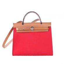 Hermès(爱马仕)Herbag 手提单肩包 金棕色盖头大红帆布 银扣 31cm