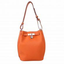 Hermès(爱马仕)soKelly 单肩包 橙色 togo 银扣 22cm
