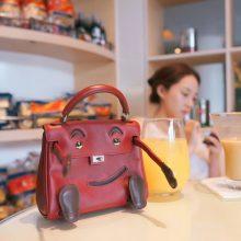 Hermès(爱马仕)kelly doll娃娃包 酒红色 swift皮 银扣 18cm
