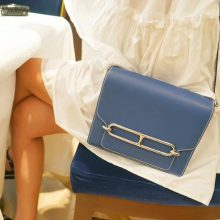 Hermès(爱马仕)roulis 猪鼻包 R2玛瑙蓝 EV 银扣 23cm