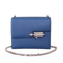 Hermès(爱马仕)Verrou 锁链包 玛瑙蓝 epsom皮 银扣 17cm