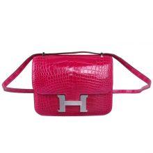 Hermès(爱马仕)Constace 空姐包 桃红色 亮面鳄鱼 银扣 19cm
