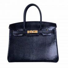Hermès(爱马仕)birkin 铂金包 黑色 蜥蜴皮 金扣 30cm