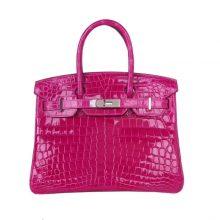 Hermès(爱马仕)birkin 铂金包 天方夜谭紫  亮面鳄鱼 银扣 30cm