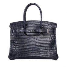 Hermès(爱马仕)birkin 铂金包 海蓝色 雾面鳄鱼 银扣 30cm