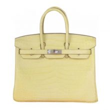 Hermès(爱马仕)birkin 铂金包 柠檬黄 哑光鳄鱼 银扣 25cm